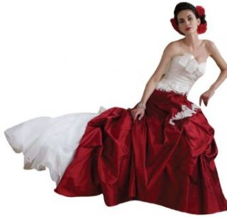 Dapene Woman/Lady Victorian Silk Strapless Bridal Ball Gown Bribal Dress Red