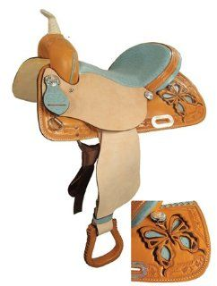 Saddle King USA Made Butterly Barrel Racing Saddle w/ Ostrich Seat  Horse Saddle Accessories  Sports & Outdoors