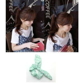 HuaYang Korean Fashion Cute Girls Rabbit Ear Hair Tie Bands Accessories Headband Ponytail Holder(Green)  Beauty