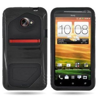 EMAXCITY Brand HYBRID Dual Heavy Duty Hard BLACK Case and Soft BLACK Silicone Skin Cover for HTC EVO 4G LTE SPRINT [WCS983] Cell Phones & Accessories