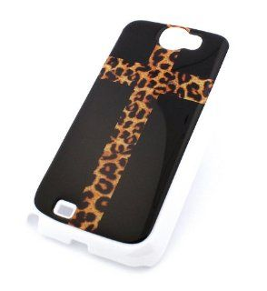 WHITE Snap On Case SAMSUNG GALAXY NOTE 2 II GT N7100 Plastic Cover   CROSS LEOPARD print cheetah jaguar animal cougar lion crucifix Cell Phones & Accessories
