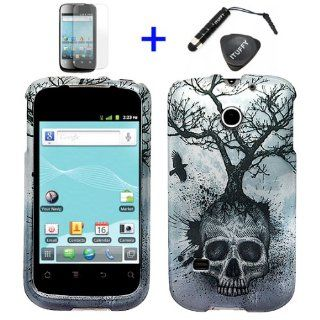 4 items Combo ITUFFY TM LCD Screen Protector Film + Mini Stylus Pen + Case Opener + Silver Blue Greyish Tree Skull Design Rubberized Snap on Hard Shell Cover Faceplate Skin Phone Case for T Mobile U8651T / Summit U8651S / Straight Talk / Cricket / Huawei