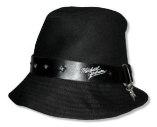 Bravado Adult Michael Jackson Rhinestone Charm Studded Black Cotton Fedora Hat Clothing