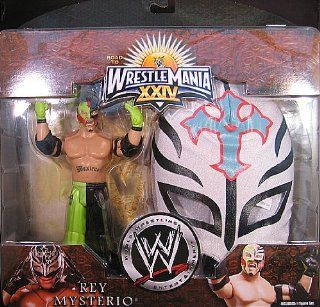 REY MYSTERIO   WHITE W/ BLUE CROSS MASK CHAMPIONS OF WRESTLEMANIA WWE TOY WRESTLING ACTION FIGURE W/ MASK Toys & Games
