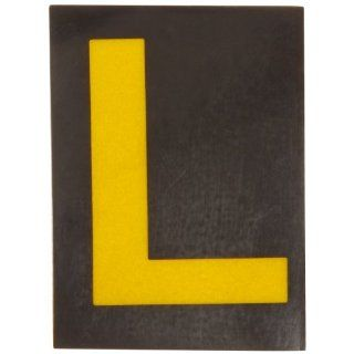 "Brady 5890 L Bradylite 1 7/8"" Height, 1 3/8 Width, B 997 Engineering Grade Bradylite Reflective Sheeting, Yellow On Black Reflective Letter, Legend ""L"" (Pack Of 25) Industrial Warning Signs"