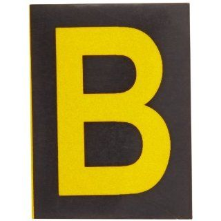 "Brady 5890 B Bradylite 1 7/8"" Height, 1 3/8 Width, B 997 Engineering Grade Bradylite Reflective Sheeting, Yellow On Black Reflective Letter, Legend ""B"" (Pack Of 25) Industrial Warning Signs"