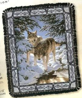 "No Sew Fleece Throw Reversible Blanket Kit Christmas Holiday ~ Icy Dawn by Persis Clayton Weirs ~ Wolves in the Snowy Forest on Blue ~ Size 55"" X 43"""