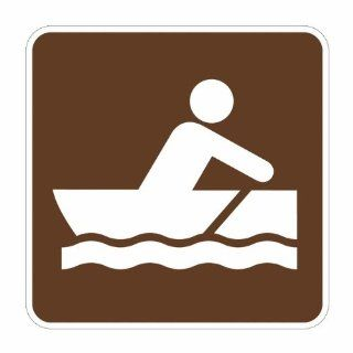 "Tapco RS 057 Engineer Grade Prismatic Square National Parks Service Sign, Legend ""Rowboating (Symbol)"", 12"" Width x 12"" Height, Aluminum, Brown on White Industrial Warning Signs"