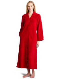 Casual Moments Women's 52 Inch V Neck Zip Front, Red, X Large