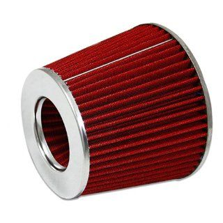 "Auto Dynasty 3"" Inlet x 6"" Cold Air Intake Chrome Open Top Intake Red Cone Air Filter Automotive"