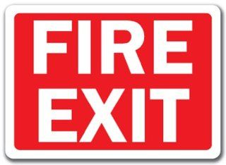 "Fire Exit Sign (white text on red background)   10"" x 14"" OSHA Safety Sign"