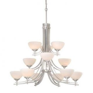 Vaxcel Lighting SE CHU012BN Twelve Light Up Lighting Three Tier Chandelier from the Sebring Collection, Brushed Nickel