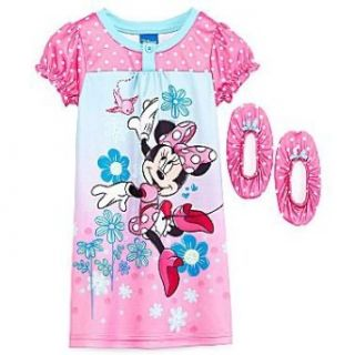 Minnie Mouse Polka Dot Toddler Girls Nightgown with Matching Slippers Size 4t Infant And Toddler Nightgowns Clothing