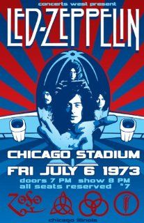 Led Zeppelin   1973   Chicago Stadium   Concert Poster  Prints