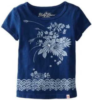 Lucky Brand Girls 2 6X Embroidered Short Sleeve Denim Top, Blue, 4 Clothing