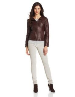 Marc New York by Andrew Marc Women's Lola Leather Jacket, Oxblood, X Large Leather Outerwear Jackets