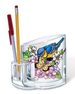 Amia Acrylic Pen Holder with Bluebird and Butterfly Design, Hand Painted Acrylic, 4 1/4 Inch by 2 1/4 Inch by 4 3/4 Inch   Pencil Holders
