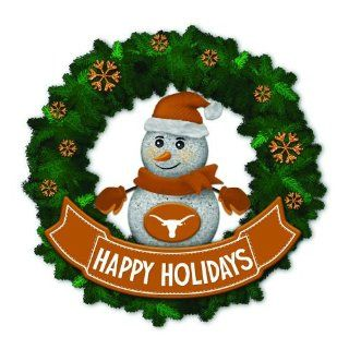 "15"" NCAA Texas Longhorns Lighted Snowman Artificial Christmas Wreath"