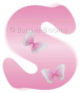 """s"" Pink Butterfly Alphabet Letter Name Wall Sticker   Decal Letters for Children's, Nursery & Baby's Room Decor, Baby Name Wall Letters, Girls Bedroom Wall Letter Decorations, Child's Names. Butterflies Mural Walls Decals Baby Sh"