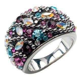Inox Womens Stainless Steel Black Multicolor Crystal Ring Size 8 FR11977 8 Jewelry