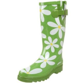 Western Chief Women's Daisies Rain Boot,Green,6 M US Shoes