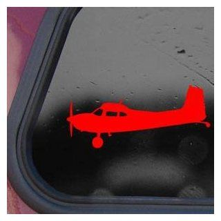 Cessna 180 Skywagon Side Silhouette Red Decal Sticker Wall Red Decal Sticker   Decorative Wall Appliques