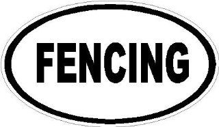 "4"" FENCING Euro oval Engineer grade reflective vinyl decal sticker for any smooth surface such as windows bumpers laptops or any smooth surface."