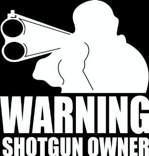 "12""Hunter with rifle Warning shotgun owner Die Cut decal sticker for any smooth surface such as windows bumpers laptops or any smooth surface."