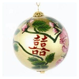 "Glass Ornaments   Hand Painted Inside   Calligraphy Symbol for ""Double Happiness""   Perfect Gift for Anyone   Decorative Hanging Ornaments"