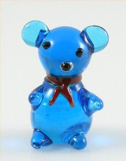 Teddy Bear Glass Miniature Figurine, Blue w/ Red Bow Tie Approximately 1 Inch Tall   Collectible Figurines