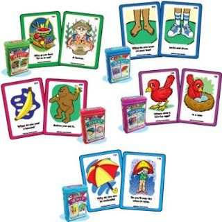 "Ask and Answer ""WH"" Questions Five Card Decks Combo   Super Duper Educational Learning Toy for Kids Toys & Games"