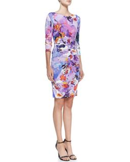 Nicole Miller Jersey Floral Print Scoop Neck Dress