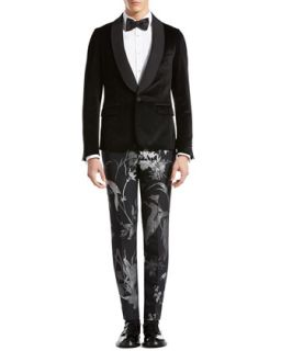 Gucci Velvet Evening Duke Jacket, Evening Shirt, Botanic Jacquard Skinny Pants & Satin Bow Tie