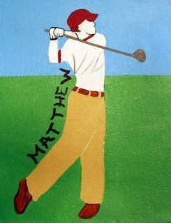 Personalized Golf Canvas Wall Art, Hand Painted Original Art, Perfect Christmas Gift For Girls or Boys Room Decor, See Below To Speed Delivery   Childrens Wall Decor