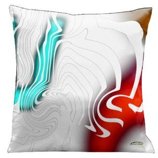 Lama Kasso Contempo White with Aqua 2, Red and Gold Accents on a White Satin 18 Inch Square Pillow, Design on Both Sides   Throw Pillows