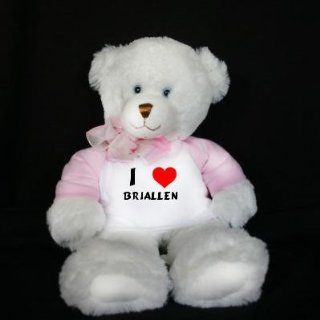 Plush White Teddy Bear (Dena) toy with I Love Briallen (first name/surname/nickname) Toys & Games