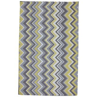 Mohawk Home Ella Zig Zag 8 ft x 10 ft Rectangular Yellow Transitional Outdoor Area Rug
