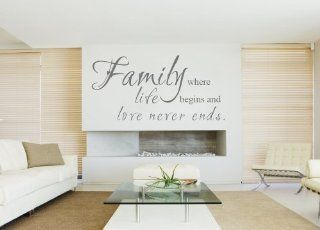 Family Where Life Begins Love Never Ends   Family Wall Decal Quote Vinyl Sayings Mural Word Letters   15 Colors 4 Sizes to Choose (Black, Small)   Wall Decor Stickers