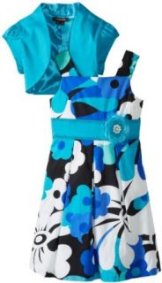My Michelle Girls 7 16 Tulip Short Sleeve Printed Dress with Tie Back and Flower Clothing
