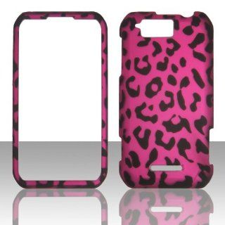 IMAGITOUCH(TM) 4 Item Combo For MOTOROLA Photon Q XT897 Hot Pink Black Leopard Skin Snap On Hard Case Phone Cover (Anti Glare Screen Protector, Stylus Pen, Pry Tool, Phone Cover) Cell Phones & Accessories