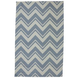 Mohawk Home Pool Zig Zag 8 ft x 10 ft Rectangular Blue Transitional Outdoor Area Rug