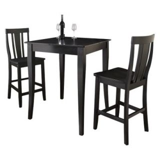Dining Table Set Crosley Cabriole Leg Pub Table Set   Black (Set of 3)