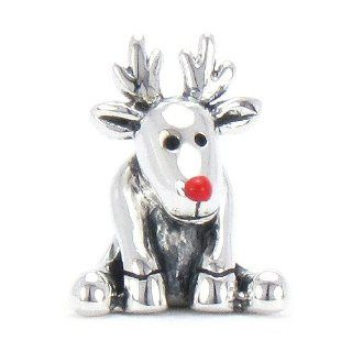 Moress Red Nose Reindeer With Red Enamel Nose   Christmas Holiday Charm   Solid 925 Sterling Silver European Charm Bead   Compatible Brand Bracelets  Authentic Pandora, Chamilia, Moress, Troll, Ohm, Zable, Biagi, Kay's Charmed Memories, Kohl's, Pe