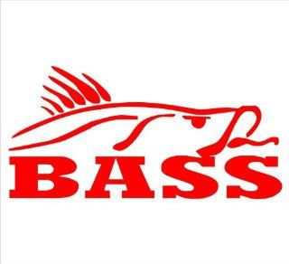 "Bass Hunting Sea Bass Fishing Ocean Marine Animal Decal Sticker Laptop, Notebook, Window, Car, Bumper, EtcStickers 6""x3""in. in RED Exterior Window Sticker with"