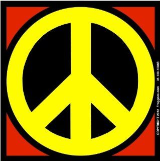 "PEACE SIGN   YELLOW/RED   STICK ON CAR DECAL SIZE 3 1/2"" x 3 1/2""   VINYL DECAL WINDOW STICKER   NOTEBOOK, LAPTOP, WALL, WINDOWS, ETC. COOL BUMPERSTICKER   Automotive Decals"