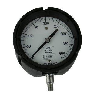 "Ashcroft Type 1259 Solid Front Thermoplastic Case Process Pressure Gauge, Stainless Steel Bourdon Tube and Socket, 4 1/2"" Dial Size, 1/4"" NPT Lower Connection, 0/400 psig Pressure Range Industrial Pressure Gauges"