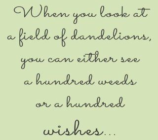 When you look at a field of dandelions you can either see a hundred weeds or a hundred wishes Vinyl Wall Decals Quotes Sayings Words Art Decor Lettering Vinyl Wall Art Inspirational Uplifting   Wall Decor Stickers