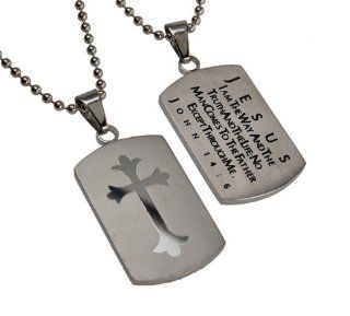 "Christian Mens Silver Stainless Steel Abstinence ""Jesus   I Am the Way and the Truth and the Life; No Man Comes to the Father Except Through Me   John 146"" Chastity Necklace for Boys on a 24"" Ball Chain   Guys Purity Necklace Jewelry"