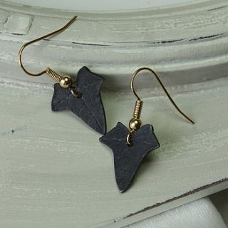 blackened copper ivy leaf earrings by silver leaves