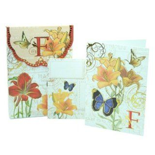 Punch Studio Floral Monogram Pouch Note Cards  #56976F (Letter F) Health & Personal Care